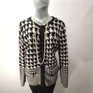 Basler knit Cardigan Black/White Size 44 or 16/18